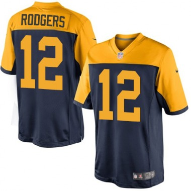 Men's Nike Green Bay Packers Aaron Rodgers Alternate Jersey - Navy Blue Limited