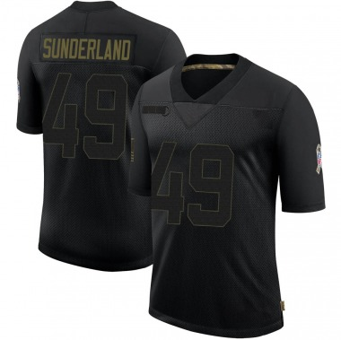 Men's Nike Green Bay Packers Will Sunderland 2020 Salute To Service Jersey - Black Limited